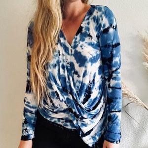 Young, Fabulous & Broke Blue Tie-Dye Splendor Top